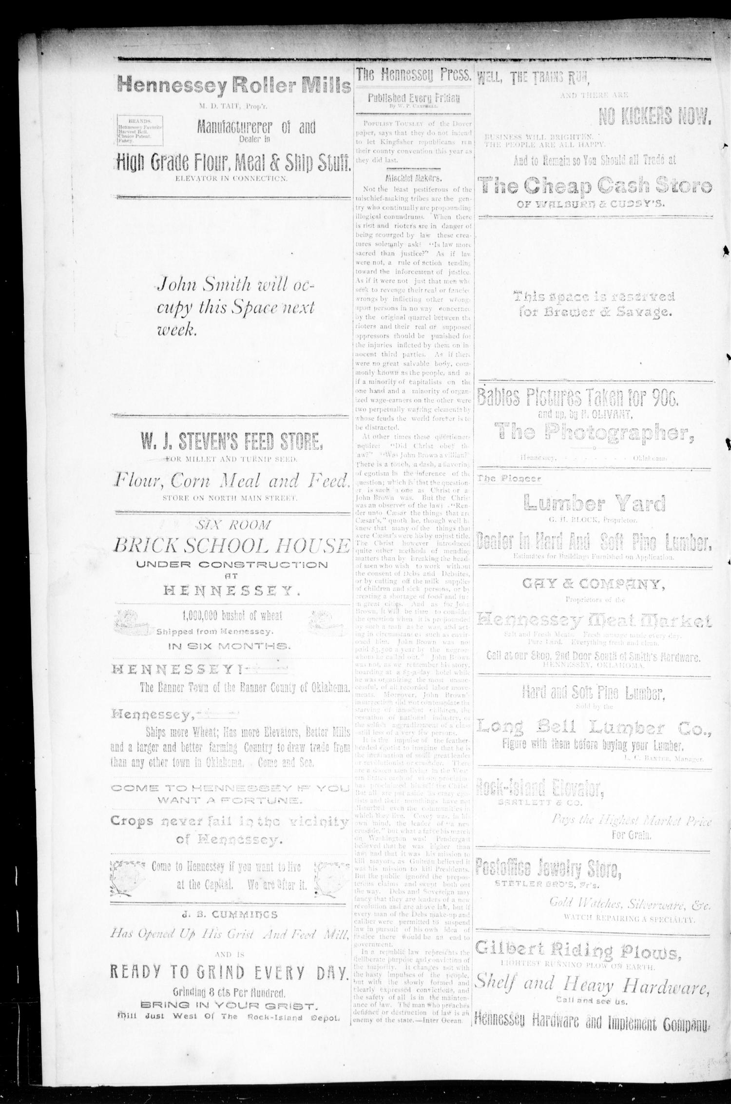 The Hennessey Press. (Hennessey, Okla. Terr.), Vol. 1, No. 1, Ed. 1 Friday, July 27, 1894                                                                                                      [Sequence #]: 4 of 8