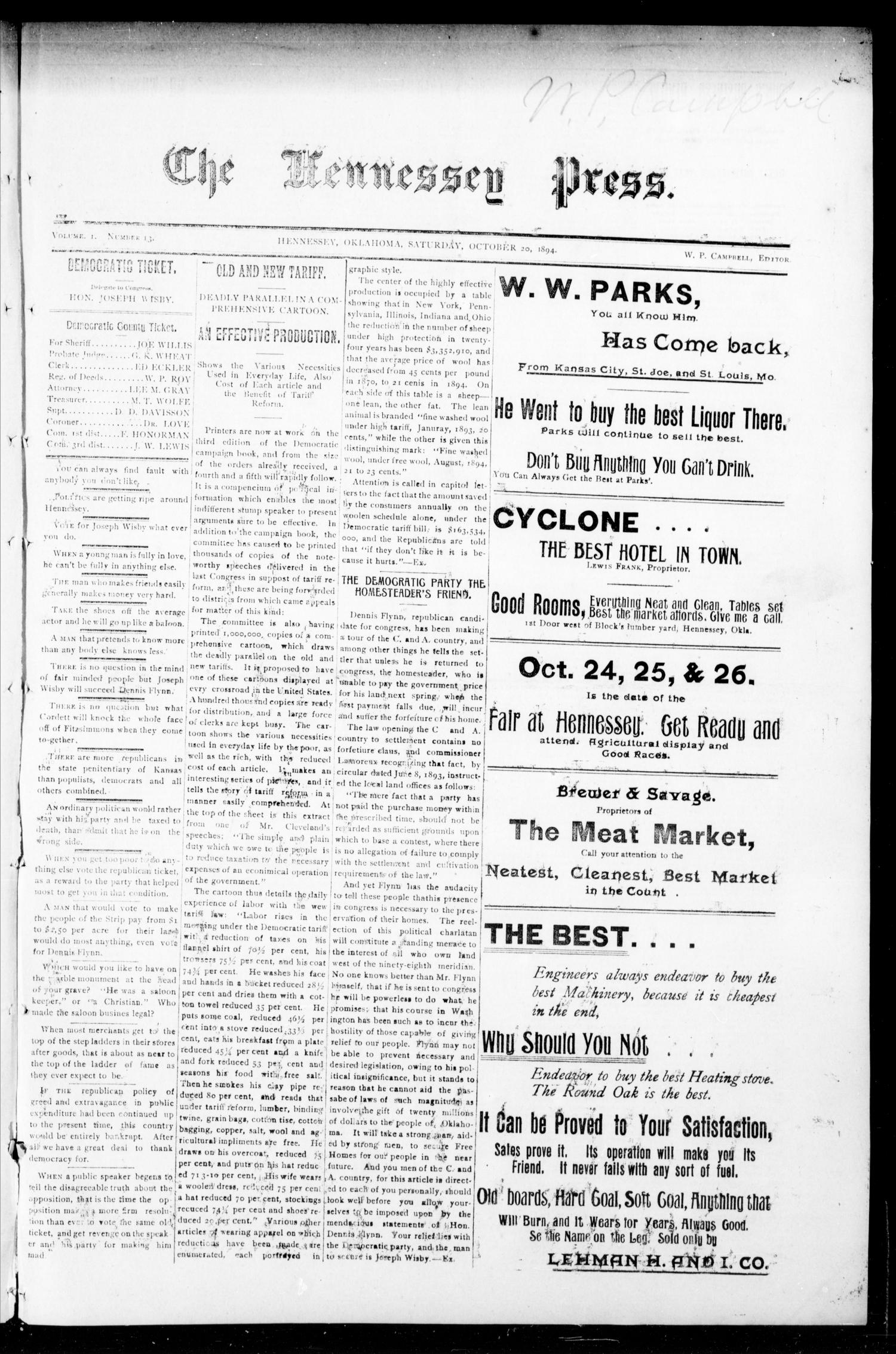 The Hennessey Press. (Hennessey, Okla.), Vol. 1, No. 13, Ed. 1 Saturday, October 20, 1894                                                                                                      [Sequence #]: 1 of 8