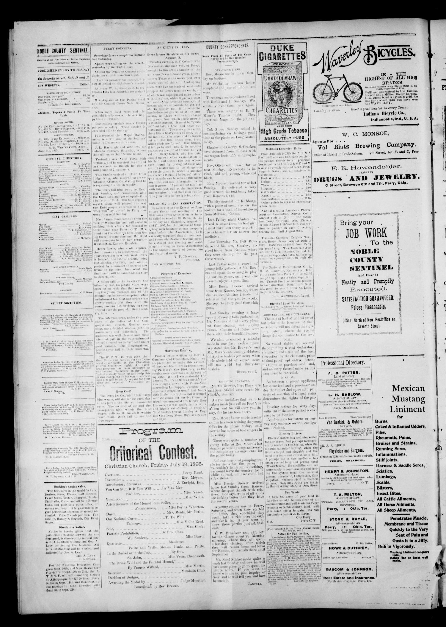 Noble County Sentinel. (Perry, Okla.), Vol. 2, No. 44, Ed. 1 Thursday, July 18, 1895                                                                                                      [Sequence #]: 4 of 4