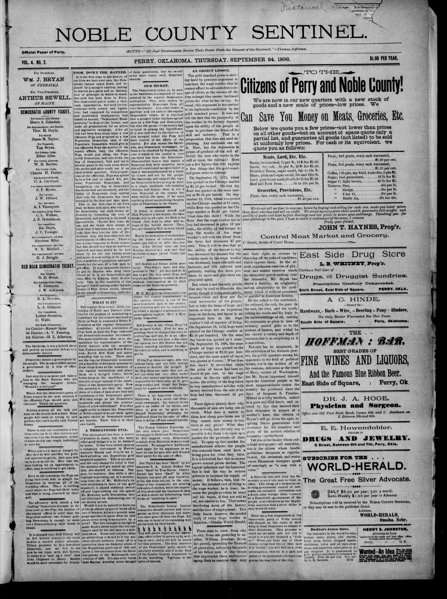 Noble County Sentinel. (Perry, Okla.), Vol. 4, No. 2, Ed. 1 Thursday, September 24, 1896                                                                                                      [Sequence #]: 1 of 4