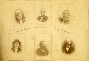 Primary view of 6 Cherokee Chiefs, Print in Circulation by Nov. 20th, 1991. L. to R. Top Row: William P. Ross, John Ross, Lewis Downing. Bottom Row: Charles Thompson, Joel B. Mayes, Dennis W. Bushyhead., Pre Nov. 20 1891