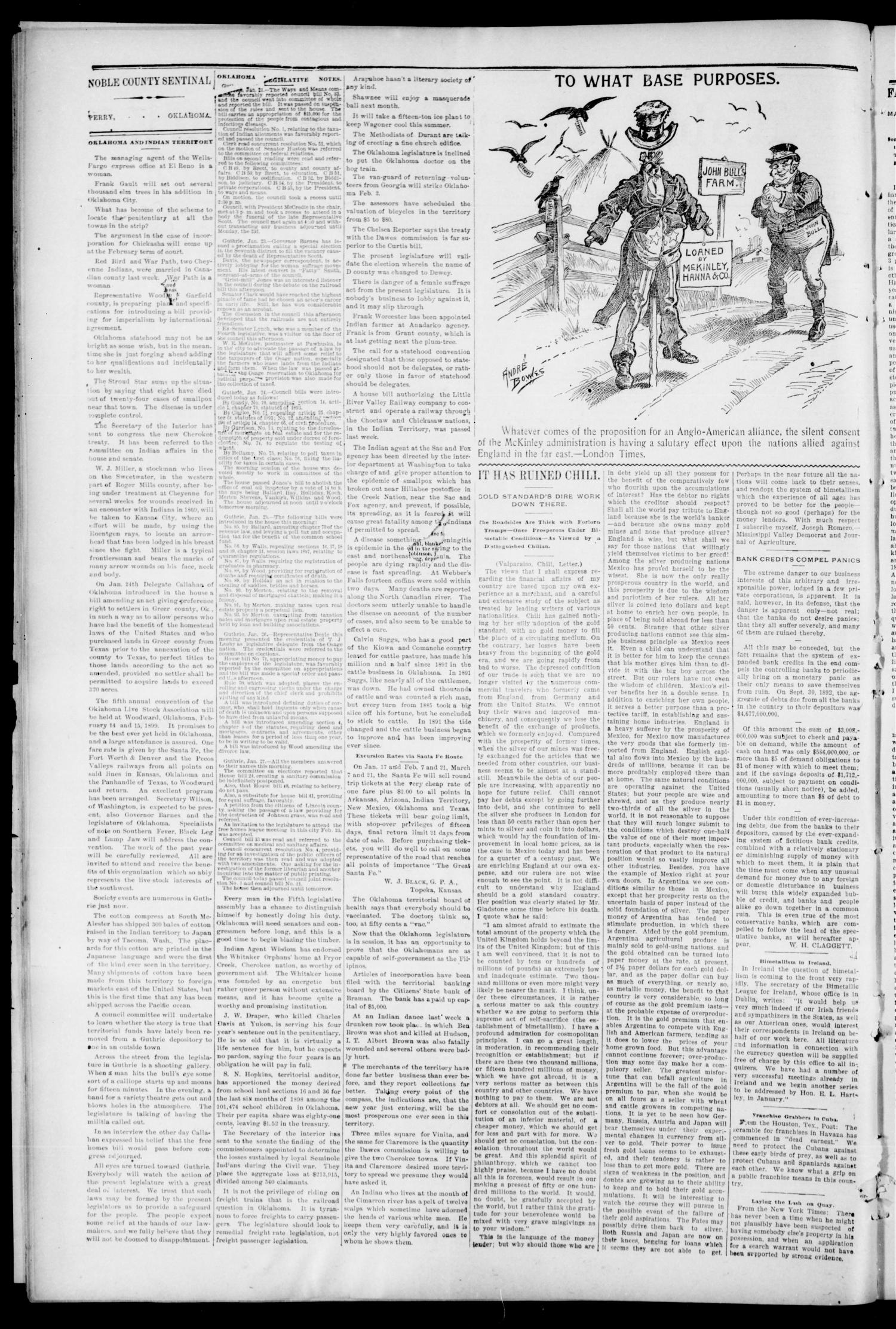 Noble County Sentinel. (Perry, Okla.), Vol. 6, No. 21, Ed. 1 Thursday, February 2, 1899                                                                                                      [Sequence #]: 2 of 8