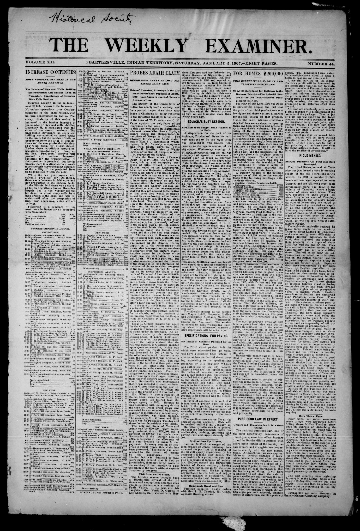 The Weekly Examiner. (Bartlesville, Indian Terr.), Vol. 12, No. 44, Ed. 1 Saturday, January 5, 1907                                                                                                      [Sequence #]: 1 of 8
