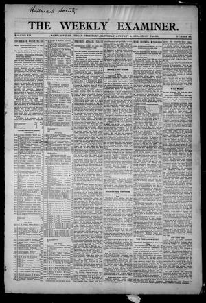 Primary view of object titled 'The Weekly Examiner. (Bartlesville, Indian Terr.), Vol. 12, No. 44, Ed. 1 Saturday, January 5, 1907'.