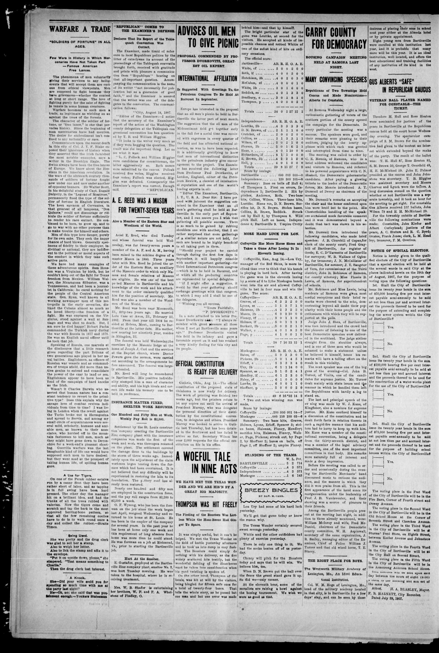 The Weekly Examiner. (Bartlesville, Indian Terr.), Vol. 13, No. 24, Ed. 1 Saturday, August 17, 1907                                                                                                      [Sequence #]: 2 of 8