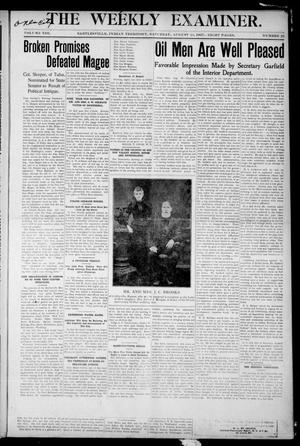 Primary view of object titled 'The Weekly Examiner. (Bartlesville, Indian Terr.), Vol. 13, No. 25, Ed. 1 Saturday, August 24, 1907'.
