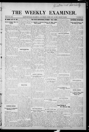 Primary view of object titled 'The Weekly Examiner. (Bartlesville, Okla.), Vol. 13, No. 50, Ed. 1 Friday, February 28, 1908'.