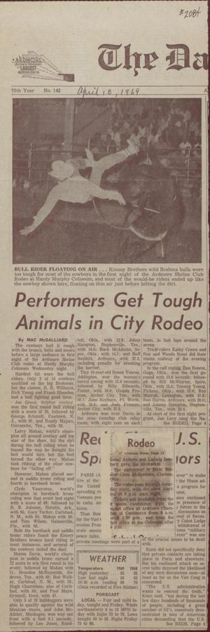 Primary view of object titled 'Performers Get Tough Animals In City Rodeo'.