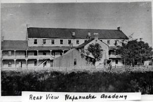 Primary view of object titled 'Rear view of the Wapanucka Academy.'.