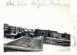 Primary view of object titled 'View of the High School and Junior High School buildings in Ardmore taken from a rooftop a block away.'.