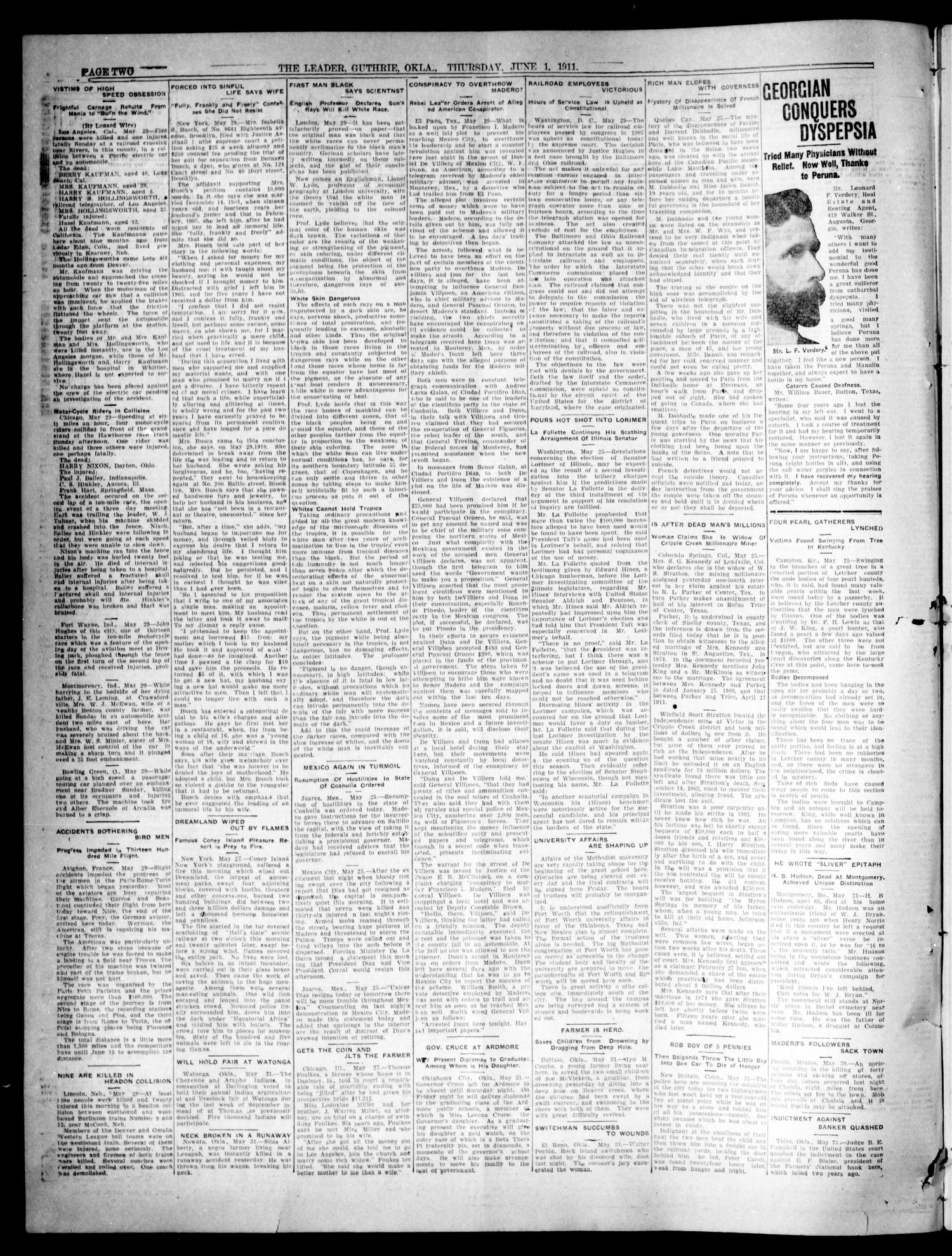 The Oklahoma Leader. (Guthrie, Okla.), Vol. 21, No. 1, Ed. 1 Thursday, June 1, 1911                                                                                                      [Sequence #]: 2 of 8