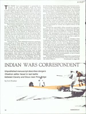 Primary view of object titled 'Indian Wars Correspondent'.