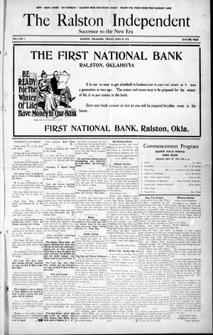 Primary view of object titled 'The Ralston Independent (Ralston, Okla.), Vol. 8, No. 1, Ed. 1 Friday, April 26, 1912'.