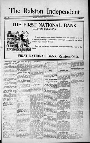 Primary view of object titled 'The Ralston Independent (Ralston, Okla.), Vol. 8, No. 4, Ed. 1 Friday, May 17, 1912'.