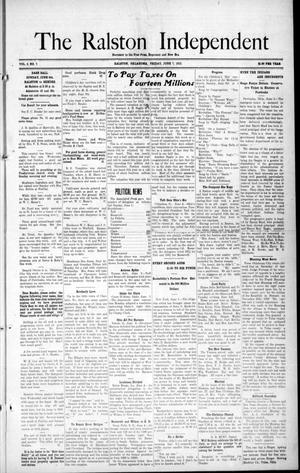 Primary view of object titled 'The Ralston Independent (Ralston, Okla.), Vol. 8, No. 7, Ed. 1 Friday, June 7, 1912'.
