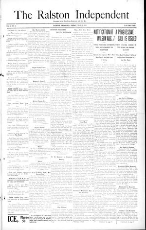 Primary view of object titled 'The Ralston Independent (Ralston, Okla.), Vol. 8, No. 12, Ed. 1 Friday, July 12, 1912'.
