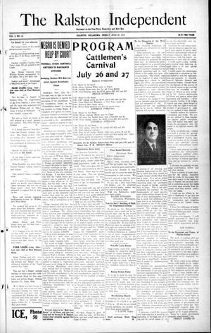 Primary view of object titled 'The Ralston Independent (Ralston, Okla.), Vol. 8, No. 14, Ed. 1 Friday, July 26, 1912'.