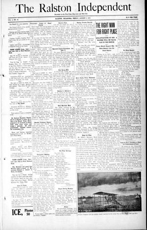 Primary view of object titled 'The Ralston Independent (Ralston, Okla.), Vol. 8, No. 15, Ed. 1 Friday, August 2, 1912'.
