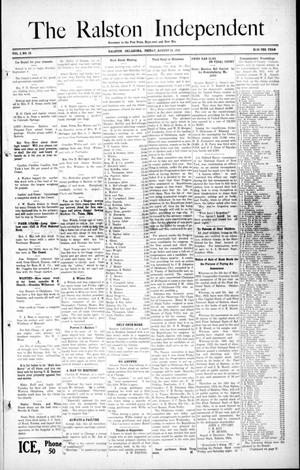 Primary view of object titled 'The Ralston Independent (Ralston, Okla.), Vol. 8, No. 18, Ed. 1 Friday, August 23, 1912'.