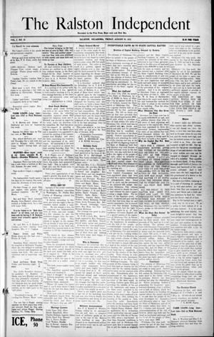 Primary view of object titled 'The Ralston Independent (Ralston, Okla.), Vol. 8, No. 19, Ed. 1 Friday, August 30, 1912'.