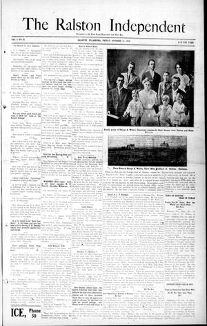 Primary view of object titled 'The Ralston Independent (Ralston, Okla.), Vol. 8, No. 25, Ed. 1 Friday, October 11, 1912'.