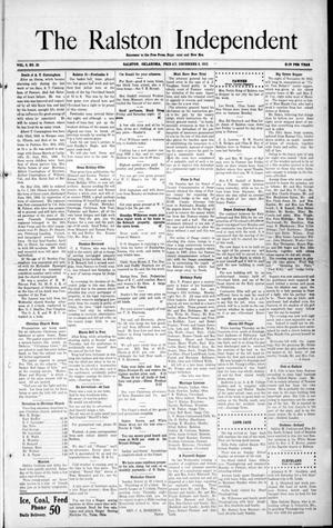 Primary view of object titled 'The Ralston Independent (Ralston, Okla.), Vol. 8, No. 33, Ed. 1 Friday, December 6, 1912'.