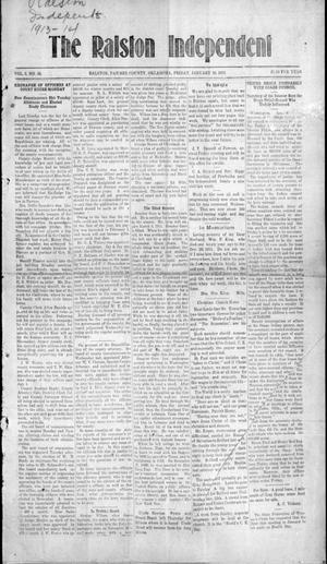 Primary view of object titled 'The Ralston Independent (Ralston, Okla.), Vol. 8, No. 36, Ed. 1 Friday, January 10, 1913'.