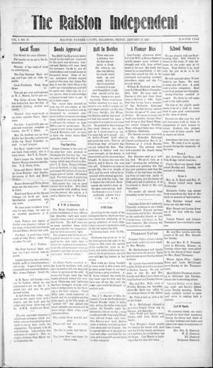 Primary view of object titled 'The Ralston Independent (Ralston, Okla.), Vol. 8, No. 37, Ed. 1 Friday, January 17, 1913'.