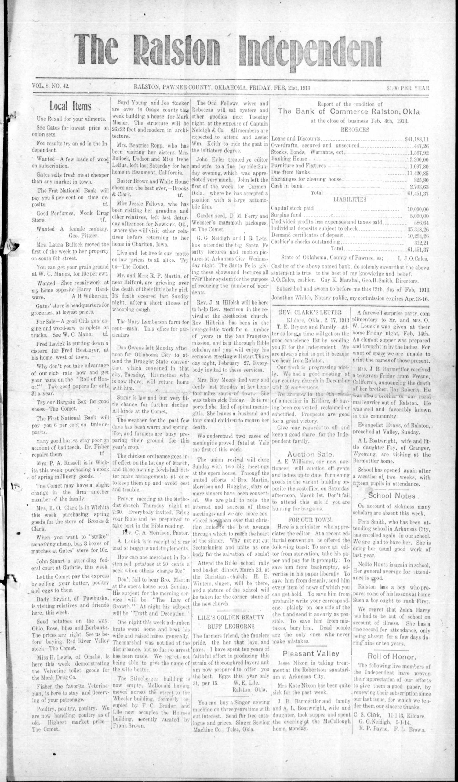 The Ralston Independent (Ralston, Okla.), Vol. 8, No. 42, Ed. 1 Friday, February 21, 1913                                                                                                      [Sequence #]: 1 of 4