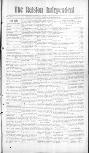 Primary view of object titled 'The Ralston Independent (Ralston, Okla.), Vol. 8, No. 42, Ed. 1 Friday, February 21, 1913'.