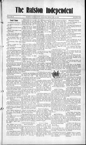 Primary view of object titled 'The Ralston Independent (Ralston, Okla.), Vol. 8, No. 48, Ed. 1 Friday, April 4, 1913'.