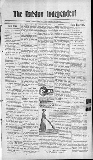 Primary view of object titled 'The Ralston Independent (Ralston, Okla.), Vol. 8, No. 51, Ed. 1 Friday, April 25, 1913'.