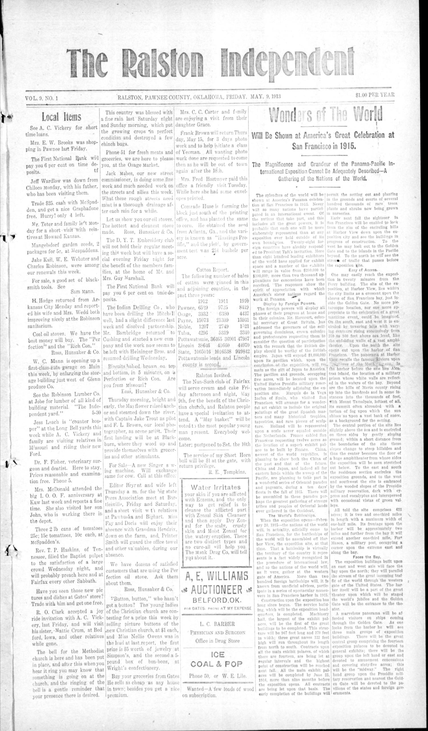 The Ralston Independent (Ralston, Okla.), Vol. 9, No. 1, Ed. 1 Friday, May 9, 1913                                                                                                      [Sequence #]: 1 of 4
