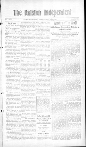 Primary view of object titled 'The Ralston Independent (Ralston, Okla.), Vol. 9, No. 1, Ed. 1 Friday, May 9, 1913'.