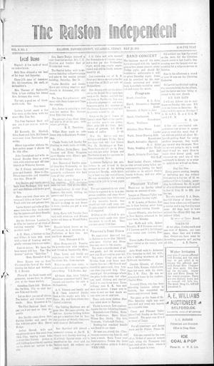 Primary view of object titled 'The Ralston Independent (Ralston, Okla.), Vol. 9, No. 3, Ed. 1 Friday, May 23, 1913'.