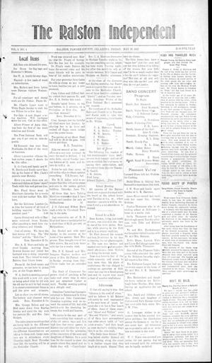 Primary view of object titled 'The Ralston Independent (Ralston, Okla.), Vol. 9, No. 4, Ed. 1 Friday, May 30, 1913'.
