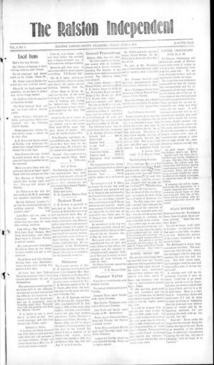 Primary view of object titled 'The Ralston Independent (Ralston, Okla.), Vol. 9, No. 5, Ed. 1 Friday, June 6, 1913'.
