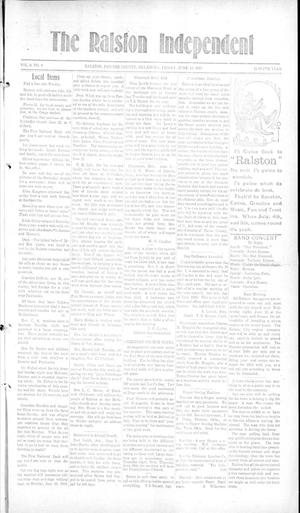 Primary view of object titled 'The Ralston Independent (Ralston, Okla.), Vol. 9, No. 6, Ed. 1 Friday, June 13, 1913'.