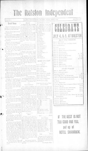 Primary view of object titled 'The Ralston Independent (Ralston, Okla.), Vol. 9, No. 8, Ed. 1 Friday, June 27, 1913'.