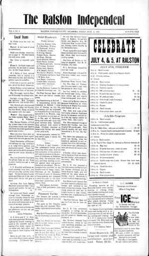 Primary view of object titled 'The Ralston Independent (Ralston, Okla.), Vol. 9, No. 9, Ed. 1 Friday, July 4, 1913'.