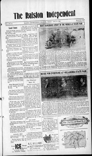 Primary view of object titled 'The Ralston Independent (Ralston, Okla.), Vol. 9, No. 20, Ed. 1 Friday, September 19, 1913'.