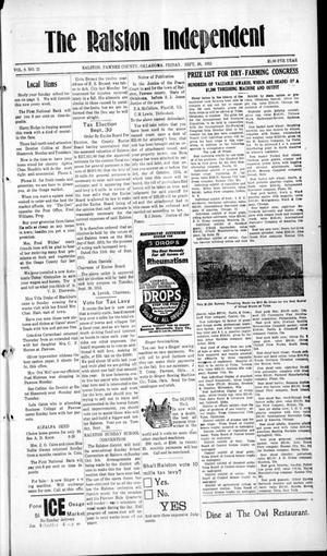 Primary view of object titled 'The Ralston Independent (Ralston, Okla.), Vol. 9, No. 21, Ed. 1 Friday, September 26, 1913'.