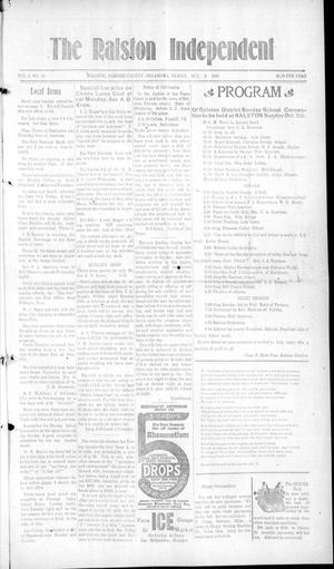 Primary view of object titled 'The Ralston Independent (Ralston, Okla.), Vol. 9, No. 22, Ed. 1 Friday, October 3, 1913'.