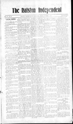 Primary view of object titled 'The Ralston Independent. (Ralston, Okla.), Vol. 10, No. 20, Ed. 1 Friday, October 2, 1914'.