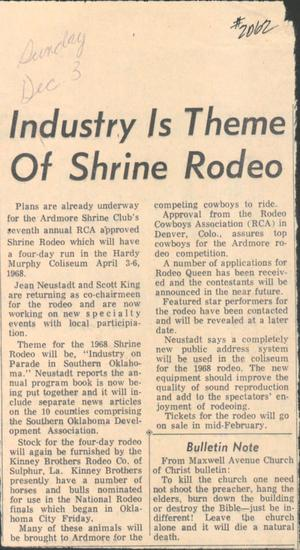 Primary view of Industry Is Theme Of Shrine Rodeo