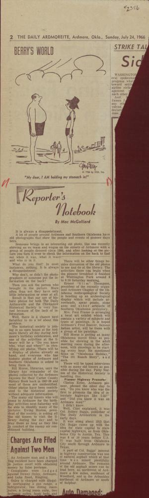Primary view of object titled '[Reporter's Notebook July 29, 1966]'.