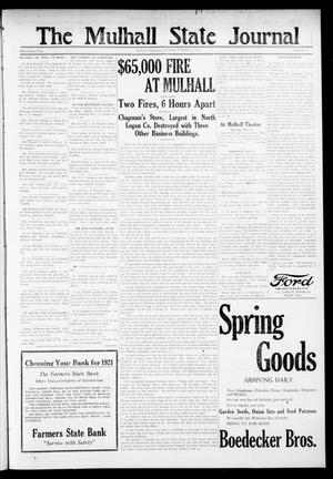 Primary view of object titled 'The Mulhall State Journal (Mulhall, Okla.), Vol. 19, No. 7, Ed. 1 Thursday, February 17, 1921'.