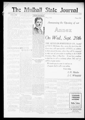 Primary view of object titled 'The Mulhall State Journal (Mulhall, Okla.), Vol. 22, No. 11, Ed. 1 Thursday, September 7, 1922'.