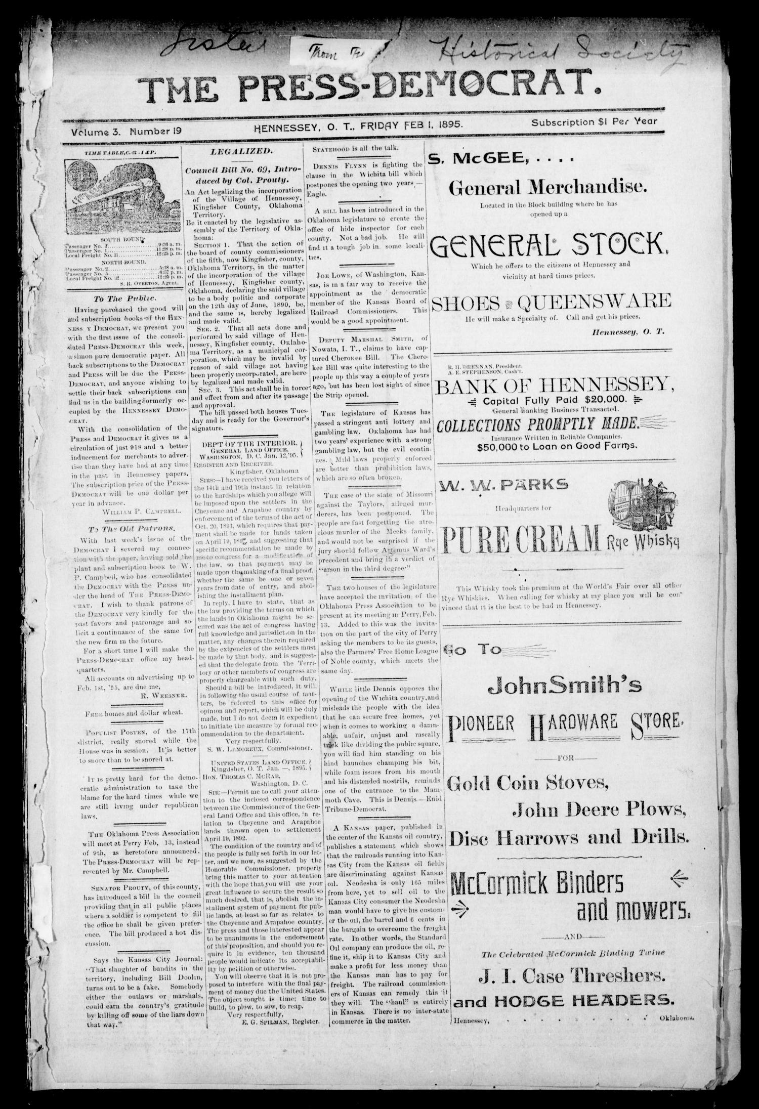 The Press-Democrat. (Hennessey, Okla. Terr.), Vol. 3, No. 19, Ed. 1 Friday, February 1, 1895                                                                                                      [Sequence #]: 1 of 8