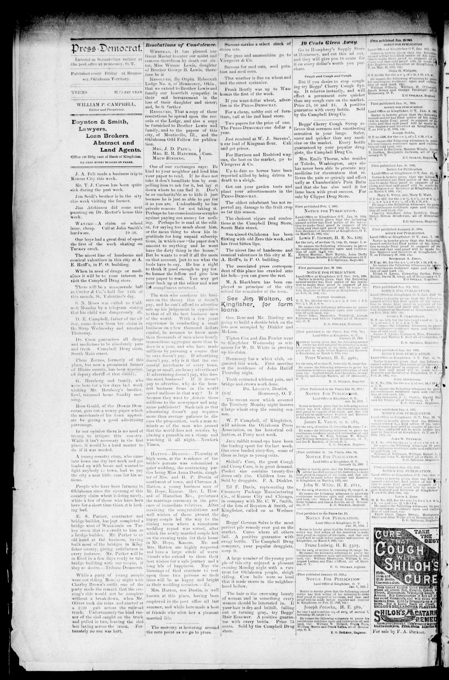 The Press-Democrat. (Hennessey, Okla. Terr.), Vol. 3, No. 19, Ed. 1 Friday, February 1, 1895                                                                                                      [Sequence #]: 8 of 8